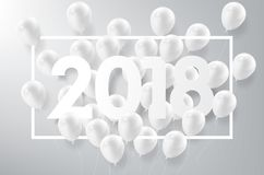 Happy New Year 2018 with white balloon, celebrate concept,. Happy New Year 2018 with white balloons, celebrate concept, vector illustration eps10 Royalty Free Stock Photos