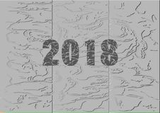 Happy new year 2018, white and black background. Vector illustration Stock Photo