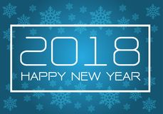 Happy New Year 2018 white on blue with snowflake pattern design for holiday festival countdown celebration background vector. Illustration Stock Images