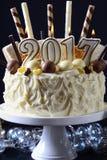 Happy New Year white chocolate cake Royalty Free Stock Image