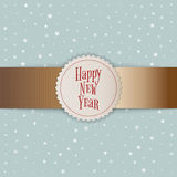 Happy New Year white Emblem on golden Ribbon Royalty Free Stock Images