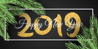 Happy New Year 2019. White frame. Christmas tree. Web banner for your advertising design. Vector illustration. EPS 10 stock illustration