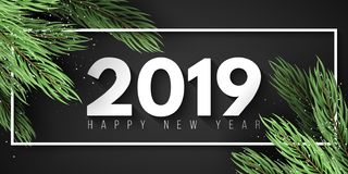 Happy New Year 2019. White frame. Christmas tree. Web banner for your advertising design. Vector illustration. EPS 10 stock images