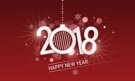 Happy New Year 2018 white inscription with christmas ball. Vector design with stars, snowflakes and glitter for your greeting card. Happy New Year 2018 white Royalty Free Stock Photo