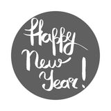 Happy New Year White Inscription in Grey Circle. Vector illustration of hand written calligraphic lettering by chalk in cartoon style on white. Greeting phrase royalty free illustration