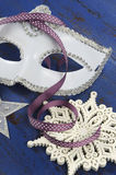 Happy New Year white masquerade party mask Royalty Free Stock Image
