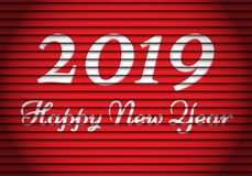 Happy New Year 2019 white number and text on red shutter pattern for holiday festival celebration background vector. Illustration stock illustration