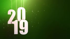 Happy New Year 2019 white paper numbers hanging on strings falling down green background royalty free illustration