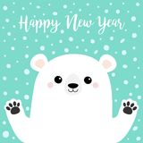 Happy New Year. White polar bear holding hands paw print. Cute cartoon funny kawaii baby character. Merry Christmas. Greeting Card. Flat design. Greeting card vector illustration