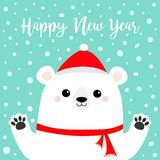 Happy New Year. White polar bear holding hands paw print. Red scarf, hat. Cute cartoon funny kawaii baby character. Merry. Christmas. Flat design. Blue snow royalty free illustration