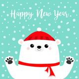 Happy New Year. White polar bear holding hands paw print. Red winter scarf, hat. Cute cartoon funny kawaii baby character. Merry. Christmas. Flat design. Blue vector illustration