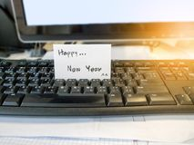 Happy new year white post it card stock photography