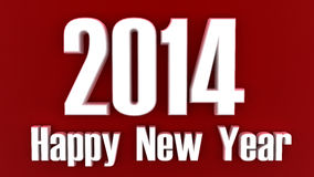 2014 Happy New Year white on red Royalty Free Stock Photography