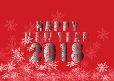 Happy new year 2018, white and black background. Happy new year 2018, white and red background,Vector illustration Stock Photo
