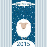 Happy New Year 2015. White sheep on snowy hill, cloud and snowflakes on blue sky, striped background vector illustration