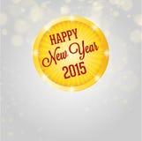 Happy new year 2015, white shining circle Royalty Free Stock Photos