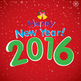 Happy New Year 2016 and white snow in winter. Christmas tree and bell on red background. Royalty Free Stock Photos