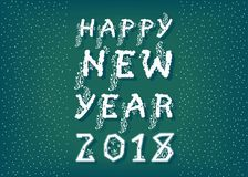 Happy New Year 2018. White snowy font Royalty Free Stock Photography