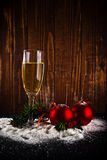 Happy New Year. White wine and christmas balls Royalty Free Stock Photo