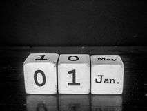 Happy new year with white wooden cube calendar Stock Photography