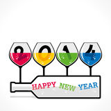 Happy new year 2014. Wine glass design background Stock Photos