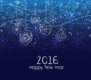 Happy new year 2016, winter christmas background with balls.  royalty free illustration
