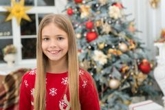 Happy new year. Winter. Christmas tree and presents. xmas online shopping. Family holiday. The morning before Xmas. Little girl. Child enjoy the holiday. Best stock photos