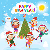 Happy New Year. 2017. Winter fun. Cheerful kids playing in the snow. Stock vector illustration of a group of happy children in red Santa hat and playing near stock illustration