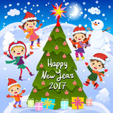 Happy New Year. 2017. Winter fun. Cheerful kids playing in the snow. Stock vector illustration of a group of happy children in red. Santa hat and playing near Royalty Free Stock Photography