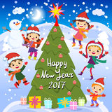 Happy New Year. 2017. Winter fun. Cheerful kids playing in the snow. Stock vector illustration of a group of happy children in red. Santa hat and playing near Stock Photography