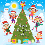 Happy New Year. 2017. Winter fun. Cheerful kids playing in the snow. Stock vector illustration of a group of happy children in red. Santa hat and playing near Stock Image