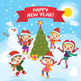Happy New Year. 2017. Winter fun. Cheerful kids playing in the snow. Stock vector illustration of a group of happy children in red. Santa hat and playing near vector illustration