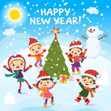 Happy New Year. 2017. Winter fun. Cheerful kids playing in the snow. Stock vector illustration of a group of happy children in red. Santa hat and playing near stock illustration
