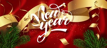 Happy New Year winter holiday greeting card design template. Calligraphic New year Lettering Decorated. Party poster royalty free illustration