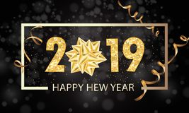 Happy New Year 2019 winter holiday greeting card design template. Party poster, banner or invitation gold glittering stars royalty free illustration