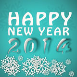 Happy new year winter illustration. In blue colors with paper cut effect Royalty Free Stock Image