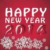 Happy new year winter illustration. In red colors with paper cut effect Stock Photography