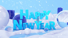 Happy New Year Winter Landscape 3D Scene Stock Images