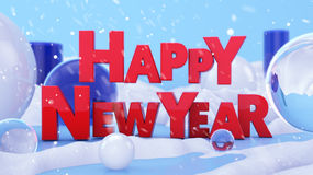 Happy New Year Winter Landscape 3D Scene Stock Photography
