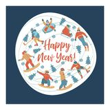 Happy new year. Vector illustration. A set of characters engaged in winter sports and recreation. stock illustration