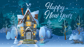 Happy new year. Winter time. Night of Christmas, the Family house before a holiday. An illustration for card. `s poster. Happy new year. Winter time. Night of Royalty Free Stock Images