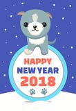 Happy New Year Wintertime Vector Illustration. Happy New Year, wintertime poster, with snowflakes, falling and cute dog of grey color, letterings and date,  on Stock Images