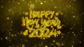 Happy New Year 2024 Wish Text on Golden Glitter Shine Particles Animation.
