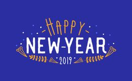 Happy New Year 2019 wish written with creative font. Holiday composition with handwritten festive message decorated by. Tiny branches, berries. Trendy vector vector illustration