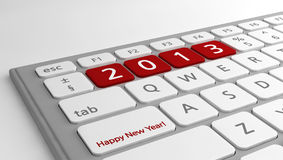 Happy New Year wishes 2013 keyboard. New Year's wishes for 2013, on a modern white/gray keyboard Vector Illustration
