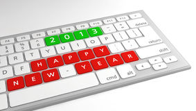 Happy New Year wishes 2013 keyboard. Happy New Year wishes 2013 as keys on a computer keyboard, with focus on wishes Stock Photography