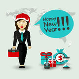 Happy New Year Wishes of Businesswoman Stock Images