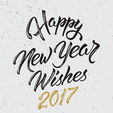 Happy New Year Wishes 2017. Calligraphy Hand drawn invitation design for greeting card Stock Image