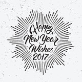 Happy New Year Wishes 2017. Calligraphy Hand drawn invitation design for greeting card Royalty Free Stock Images