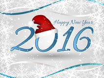 Happy New Year wishes or greeting card with Santa hat, ribbons and frame from snowflakes. Stock Photo